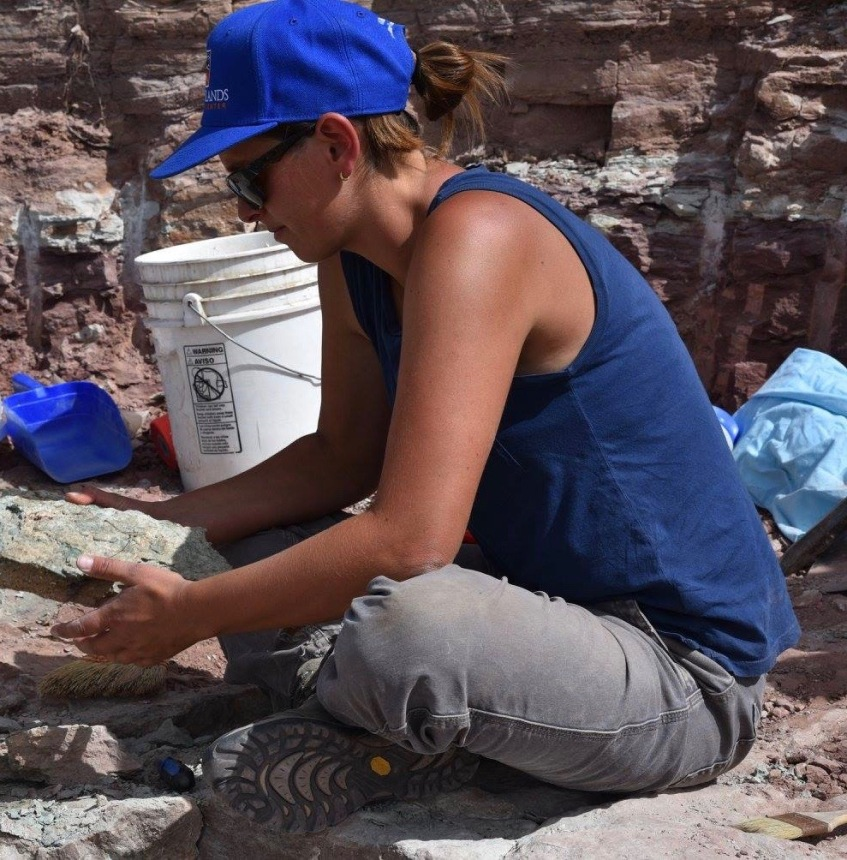 Allison Stegner at the Dystropheaus excavation