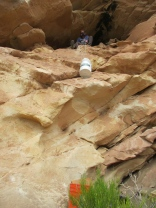 Lowering buckets of sediment from Butler Wash Cave